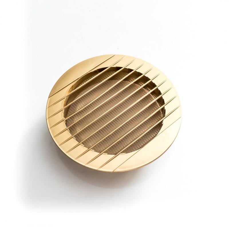 Złota okrągła kratka wentylacyjna 160mm do rury fi 125mm