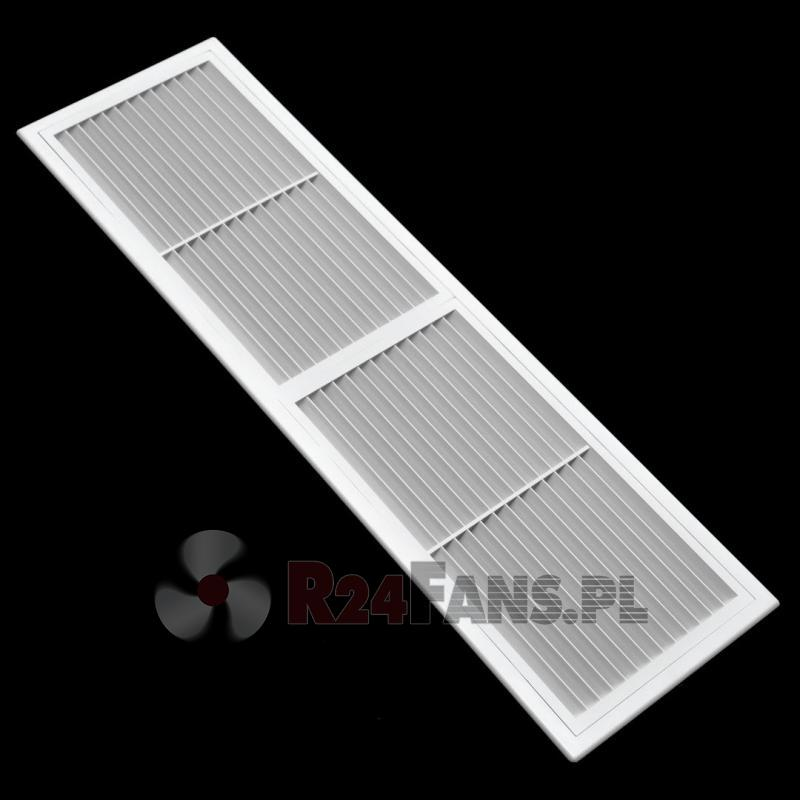 Prostokątna biała kratka drzwiowa 124mm na 461mm ,